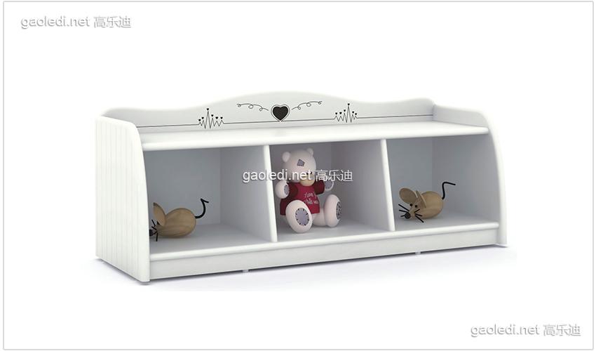 白色贵族3格矮柜
