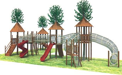 木制滑梯43-66-45