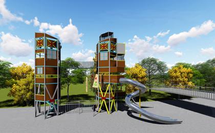 游乐场的非标滑梯设施